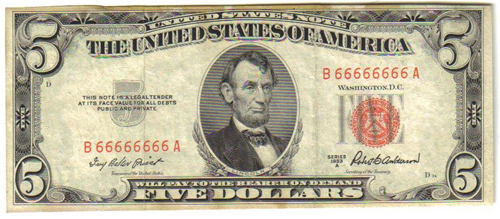 $5 US note