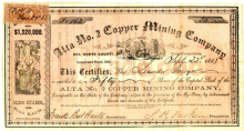 83. Del Norte County. Bret Harte Signed Mining Stock, Alta No. 2 Copper Mining Company