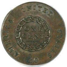 1793 S-4 With Periods Chain Cent, MS65 Brown