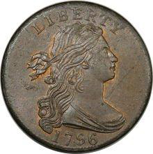 1796 1C Draped Bust, Reverse of 1795. MS65 Red and Brown PCGS.